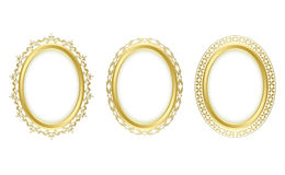Golden oval frames - vector set Royalty Free Stock Photo
