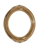Golden oval photo frame.Isolated. Stock Photos