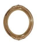 Golden oval photo frame.Isolated. Stock Photos