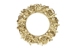 Golden oval picture frame Stock Photo