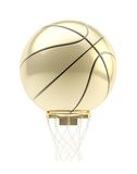 Golden oversized basketball ball over hoop Royalty Free Stock Images