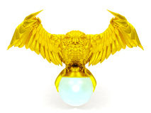 Golden owl figure and magical ball. Isolated on white background royalty free stock images