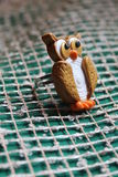 Golden owl ring from polymer clay Royalty Free Stock Photography