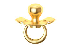 Golden pacifier, 3D rendering Royalty Free Stock Photo