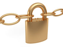 Golden padlock. And shackles on white background Royalty Free Stock Image