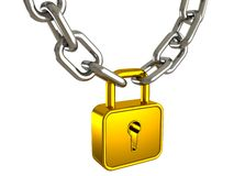 Golden padlock as a strong link of metal chain Stock Photography
