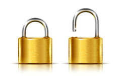 Golden padlock icons Stock Images