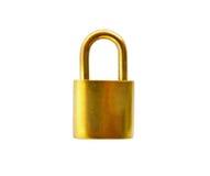 Golden padlock isolated on white background. Golden metal padlock isolated on white background Stock Photography