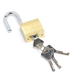 Golden Padlock And Key. Royalty Free Stock Photos