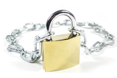 Golden Padlock And Metal Chain Isolated On White Background, Closeup. Studio Shot Royalty Free Stock Images