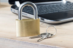 Golden padlock - Identity protection online Stock Image