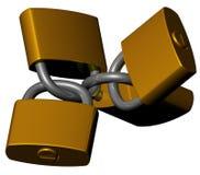 Golden padlocks. Some golden padlocks joined togheter isolated on white Royalty Free Stock Photography