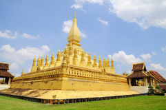 Golden pagada in Pha-That Luang temple Royalty Free Stock Image