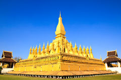 Golden pagada in Wat Pha That Luang Royalty Free Stock Photo