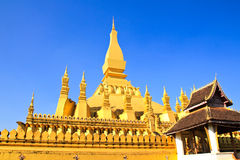 Golden pagada in Wat Pha That Luang Royalty Free Stock Images