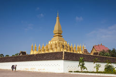 Golden pagada in Wat Pha-That Luang, Vientiane, Laos Royalty Free Stock Photo