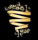 Golden page decoration element. Gold ribbon with acanthus. Royalty Free Stock Photography