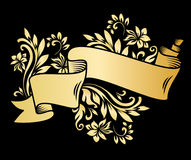 Golden page decoration element. Gold ribbon with acanthus. Stock Image