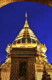 Golden Pagoda. On twilight in wat Prathart Doi Suthep,Chiang mai,Thailand Royalty Free Stock Image
