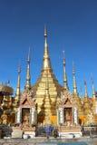 Golden Pagoda. Temple in the evening Stock Photos