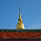Golden pagoda architecture of northern thailand in temple buddhism Royalty Free Stock Images