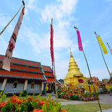 Golden pagoda architecture of northern thailand in temple Royalty Free Stock Photo