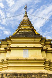 Golden pagoda with beauty sky in Thailand. Asia Stock Image