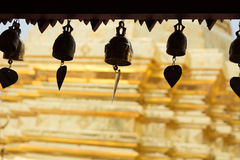 Golden pagoda. Bells at roof of pavillion around golden pagoda in Wat Phra That Doi Suthep in Chiangmai, Thailand Royalty Free Stock Image