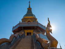 Golden Pagoda. On blue sky backgound in sunny day Stock Photography
