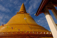 Golden pagoda. With blue sky day Nakhon Pathom Stock Photography
