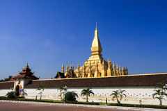 Golden Pagoda with Blue Sky Pha That Luang - Vientiane, Laos Royalty Free Stock Image