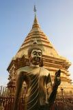 Golden Pagoda and Buddha. Wat Doi Suthep Temple, Chiang Mai, Thailand Stock Photography