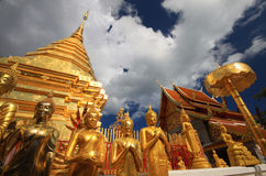 Golden pagoda buddha That Doi Suthep, chiangmai ,Thailand Stock Photography