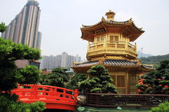Golden pagoda Chinese style in Nan Lian garden. It is also a major tourist attraction in Hong Kong Royalty Free Stock Photography