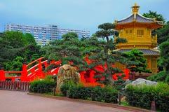Golden pagoda in chinese zen garden royalty free stock photo