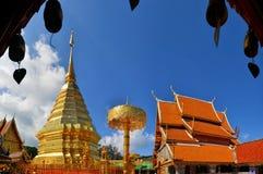 Golden pagoda Doi Suthep, Thailand. Golden pagoda Wat Phra That Doi Suthep in Chiang Mai Thailand Royalty Free Stock Image