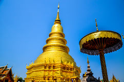 Golden Pagoda in the evening. The Jomthong Pagoda in Wat (Te Stock Images