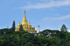 Golden pagoda famous places land mark in mang lah shan state myanmar. Nearly china ishuangbanna, Sibsongbanna,Sipsong Panna stock images
