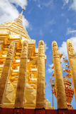 Golden pagoda in famous temple in north of Thailand. Golden pagoda in Doi Suthep the famous temple in north of Thailand as a tarvel landmark Royalty Free Stock Image