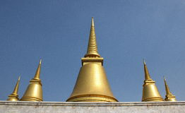 Golden pagoda. Five golden pagoda at Buddhist province Royalty Free Stock Images
