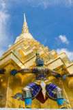 Golden pagoda in the Grand palace area in Bangkok, Stock Photo