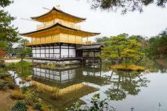 Golden pagoda with green tree and reflection on lake in autumn a stock image