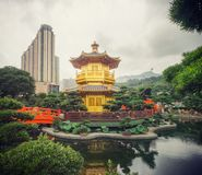 Golden pagoda inside Hong Kong Nan lian garden Stock Photo