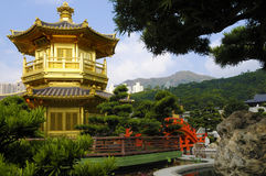Golden Pagoda, Kowloon, Hong Kong, buddhist temple, Chinese garden Royalty Free Stock Photography