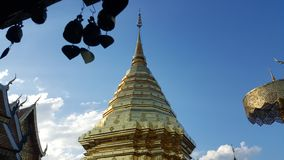 Golden pagoda of northern of Thailand 03 stock photo