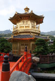 Golden Pagoda and Orange Bridge Royalty Free Stock Photos