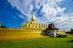 Golden pagoda of Pha That Luang in Vientiane, Laos Royalty Free Stock Photo