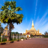 Golden pagoda of Phra That Luang Temple. Vientiane, Laos Stock Photo