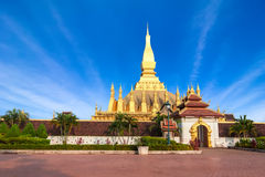 Golden pagoda of Phra That Luang Temple. Vientiane, Laos Royalty Free Stock Photo