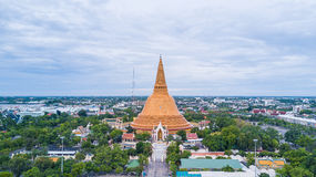 Golden pagoda Phra Pathom Chedi of Nakhon Pathom province Asia T stock images